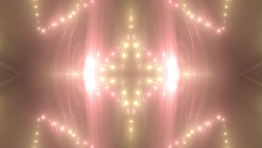 VJ Fractal red kaleidoscopic background. Background gold motion with fractal design. Disco spectrum lights concert spot bulb. Light Tunnel. Seamless loop. #30533791