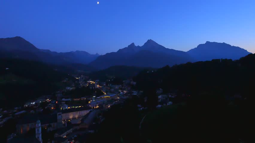 View of town Berchtesgaden at Night with parish church St. Andrew, abbey church St. Peter, Watzmann behind, Berchtesgadener Land, Upper Bavaria, Bavaria, Germany, Europe #30537904