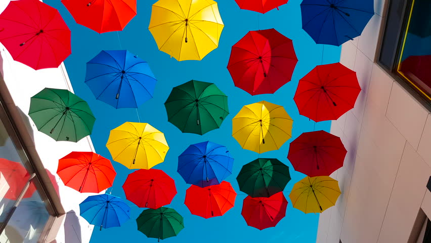 Street Decorated With Colored Umbrellas in Cagnes-sur-Mer, France - 4K Video    Shutterstock HD Video #30538567