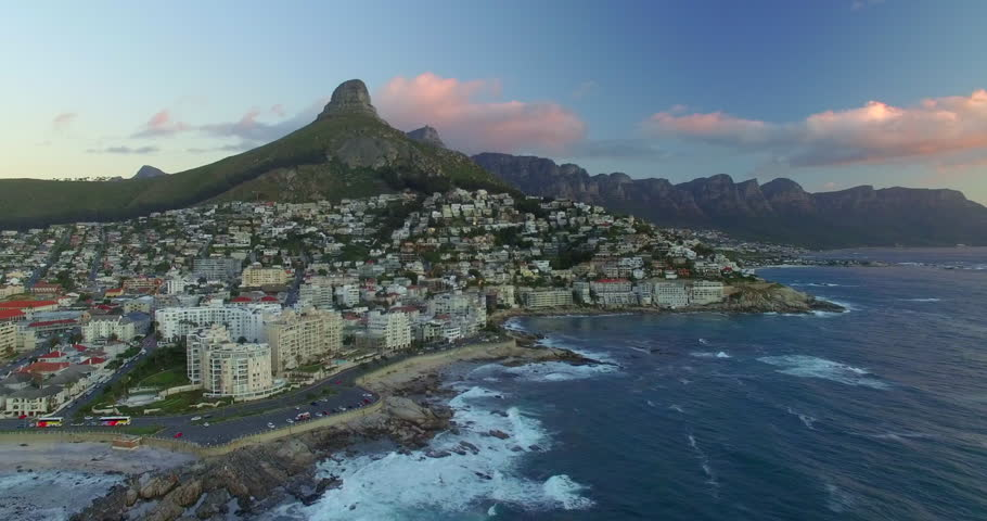Aerial of Lion's Head and Table Mountain with Ocean in Cape Town