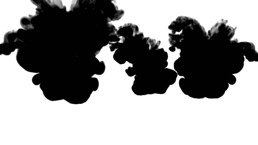 A lot of black ink flows on white moving in slow motion, ink or smoke inject . Black paint curls in water for Inky or smoky background or ink effects. Use luma matte like alpha mask or alpha channel | Shutterstock HD Video #30556867