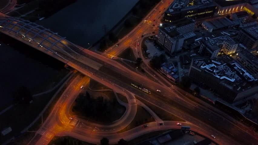 Traffic at night on the highway in Krakow, a bridge across the Vistula River   Shutterstock HD Video #30562582