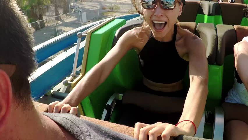 Roller coasters at Six Flags in California. Lots of fun and adrenalin / Magic Mountain / 07.07.2017