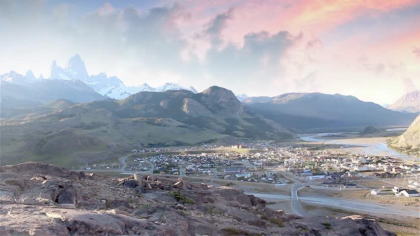 View Toward Mount Fitz Roy, Los Glaciares National Park near El Chalten, Santa Cruz, Argentina.