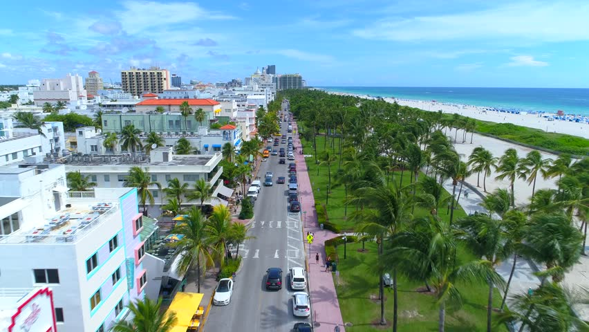 Aerial tour of Miami Beach Ocean Drive