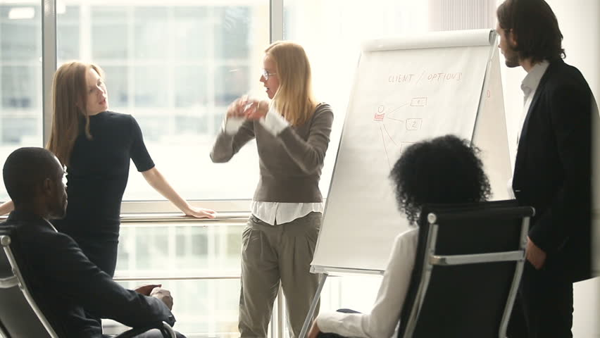 Female manager presents new project plan to colleagues at meeting, explaining ideas on flipchart to coworkers in office, businesswoman gives presentation, discussing ideas with diverse business team