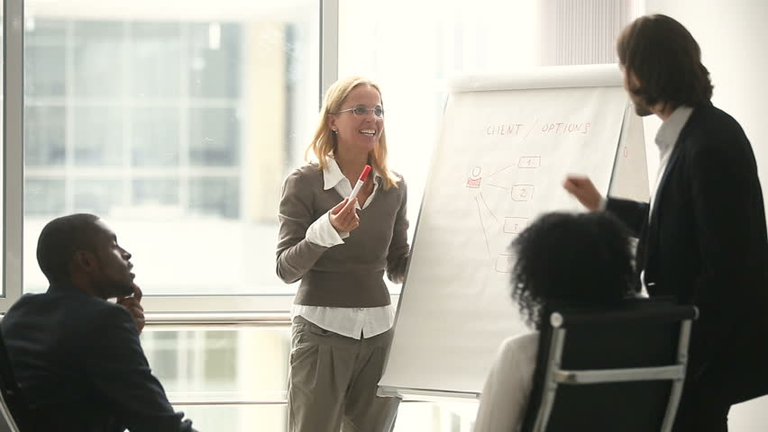 Businesswoman and businessman giving presentation using flipchart, business coaches teaching african black sales managers on staff training, female team leader explaining new company strategy #30610972