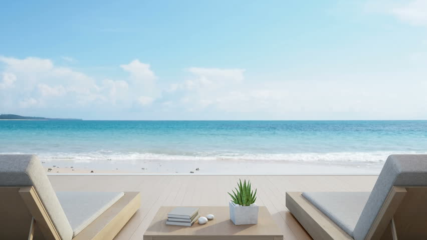 Sea view from terrace and beds in modern luxury beach house with blue sky background, Lounge chairs on wooden deck at vacation home or hotel - 3d rendering of tourist resort Royalty-Free Stock Footage #30611422