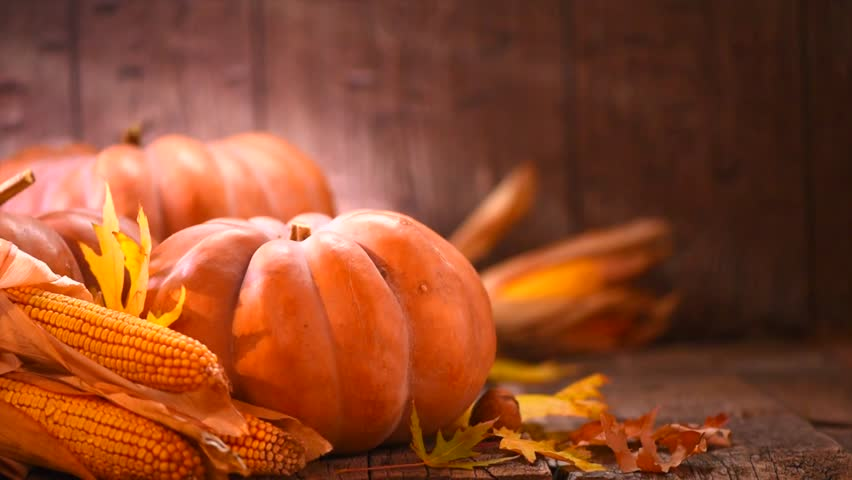 Thanksgiving Day. Pumpkin, Squash. Happy Thanksgiving Day wooden Table Background decorated with pumpkins, corn comb, candles and autumn leaves garland. Holiday Autumn festival scene, Fall, Harvest 4K | Shutterstock HD Video #30614581
