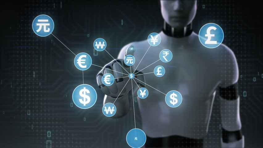 Robot, cyborg touching World currency symbol, Numerous dots gather to create a currency sign, dots makes global world map, internet of things. financial technology 2. | Shutterstock HD Video #30618355