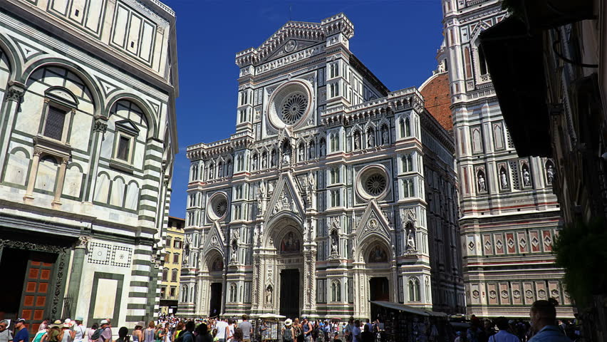 Florence, Italy, August 2017 Piazza del Duomo with Santa Maria del Fiore cathedral, Tuscany. | Shutterstock HD Video #30619933