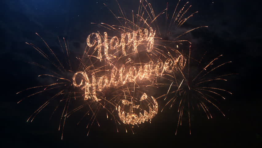 Happy Halloween greeting text with particles and sparks on black night sky with colored slow motion fireworks on background, beautiful typography magic design. | Shutterstock HD Video #30649327