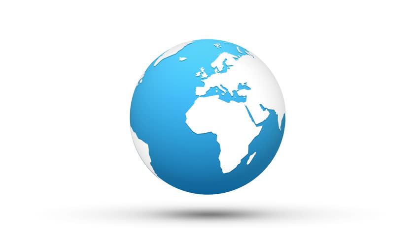 world map blue white globe loop animation