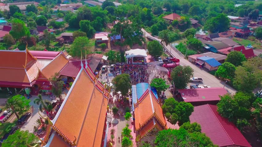 Aerial shot Songkran Festival at Ayutthaya Thailand