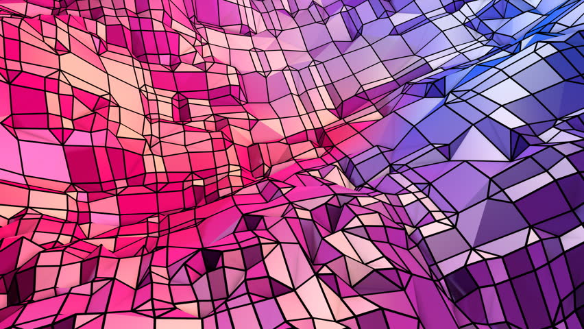 Abstract simple blue red low poly 3D surface as geometry backdrop. Soft geometric low poly motion background with pure blue red polygons. 4K Fullhd seamless loop background with gradient blue red
