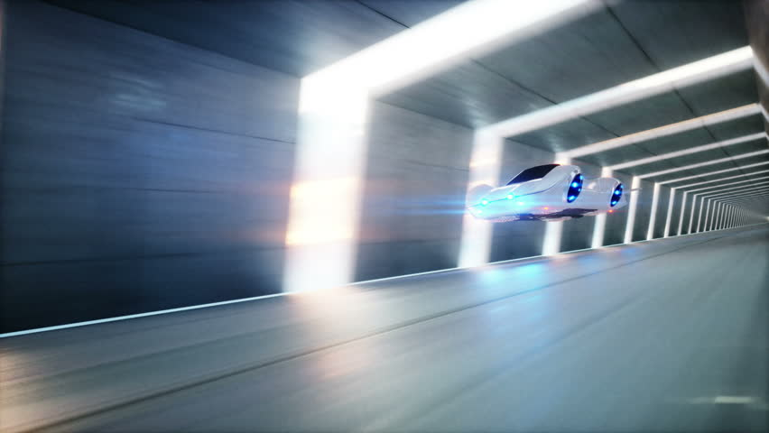 Futuristic flying car fast driving in sci fi tunnel, coridor. Concept of future. Animation is loopable. | Shutterstock HD Video #30688390