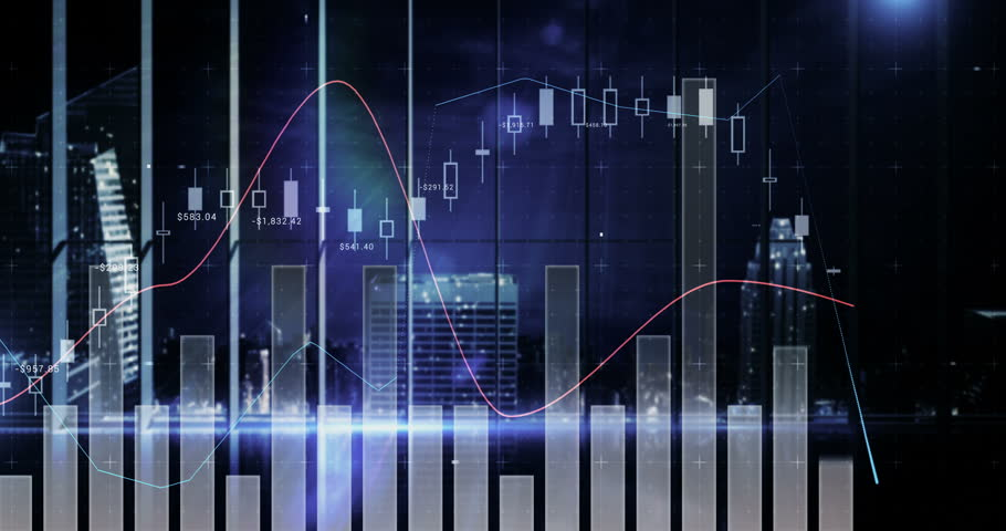 Digital composite of various financial charts against cityscape 4k | Shutterstock HD Video #30694822