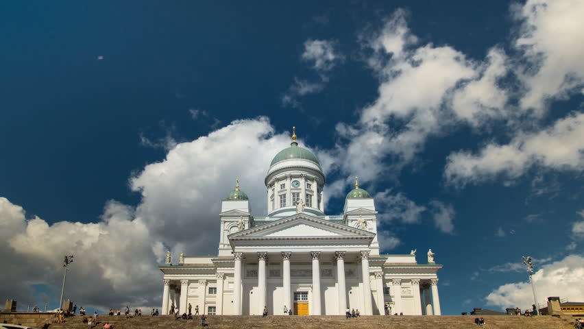 Cathedral of Helsinki in summer, seamless loop time lapse