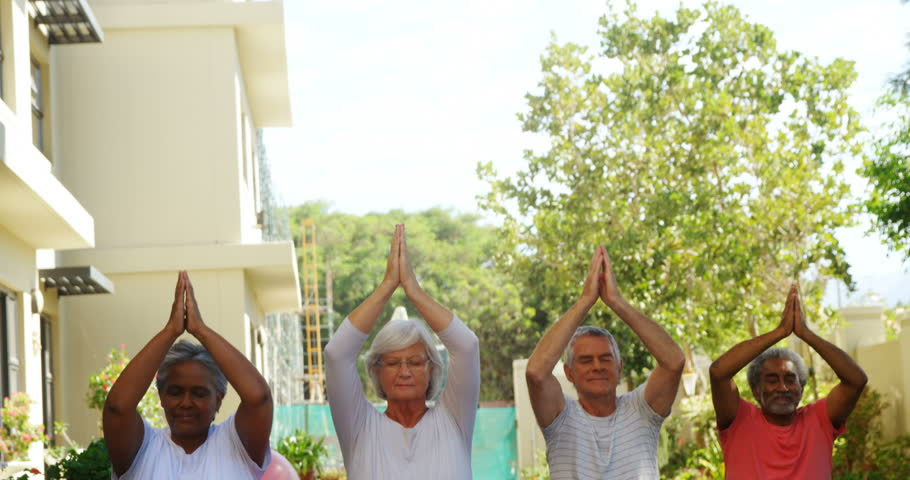 Senior Friends Performing Yoga In Stock Footage Video 100 Royalty Free 30703591 Shutterstock