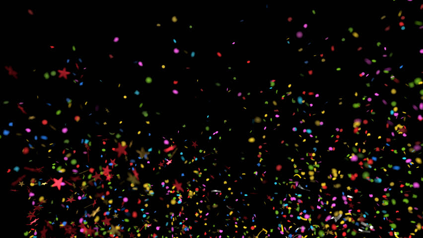 Confetti Explosion Multicolored and Shape variations with alpha channel for compositing on any background