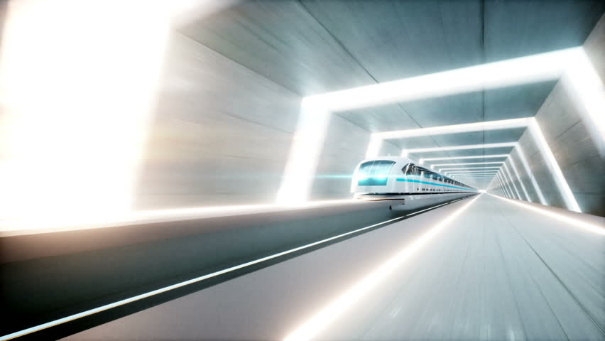 Futuristic modern train, monorail fast driving in sci fi tunnel, coridor. Concept of future. Realistic 4k animation. Loopable. | Shutterstock HD Video #30739786
