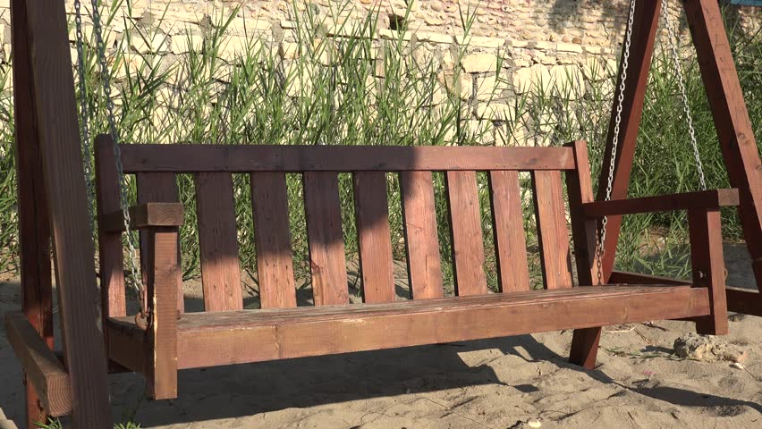 4K Rustic wooden cradle rocking at country, rocker chair balancing in relaxation day #30753514