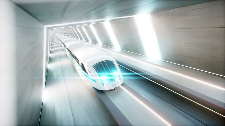 Futuristic modern train, monorail fast driving in sci fi tunnel, coridor. Concept of future. Realistic 4k animation. | Shutterstock HD Video #30763249