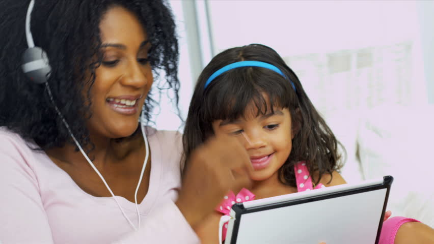 Portrait Mom Daughter Music Wireless Tablet | Shutterstock HD Video #3076513