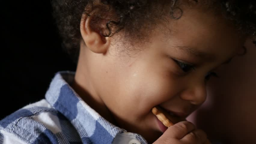 Handsome boy child eating biscuit, extreme close up  | Shutterstock HD Video #30771643