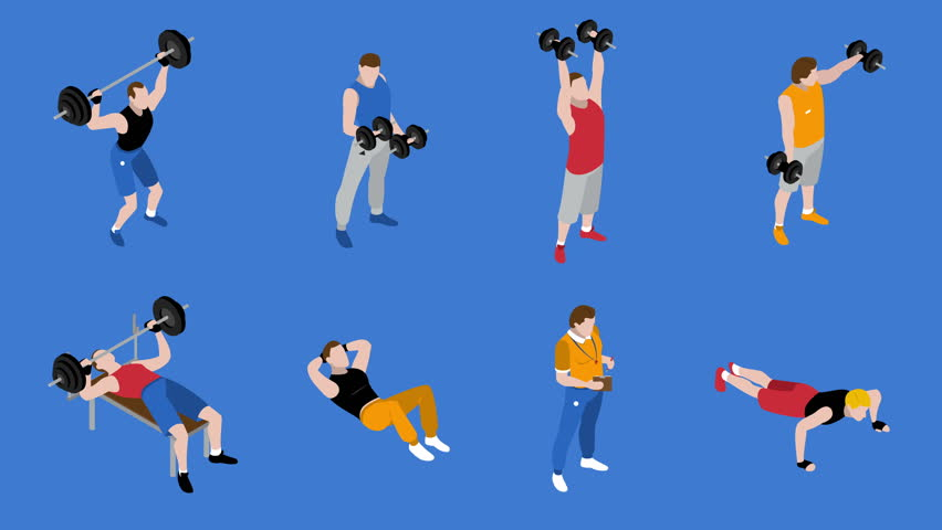 Gym and training isometric icons set on blue background available in 4k UHD FullHD and HD 3d video footage