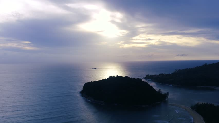 Aerial : Forward Drone shooting of infinite sea in Phuket Thailand, The sky and sea like blue color so beautiful nature skyline at sunset view small island, tropical forest and mythical scenery   Shutterstock HD Video #30774070