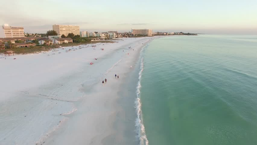 Aerial view of the Siesta Key beach with the most white and clean sand, Florida.   Shutterstock HD Video #30786703
