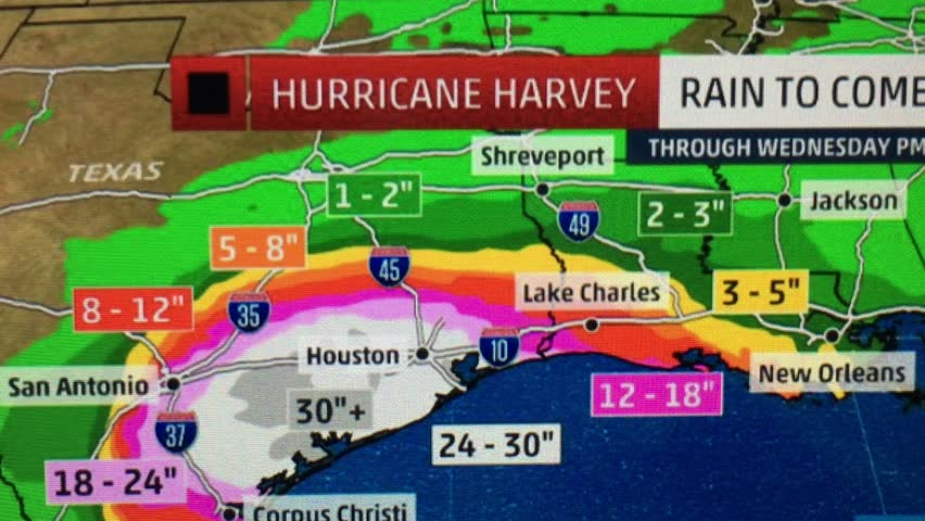 Hurricane Harvey that devastated the city of Houston, Texas from the perspective of a colorful weather map.