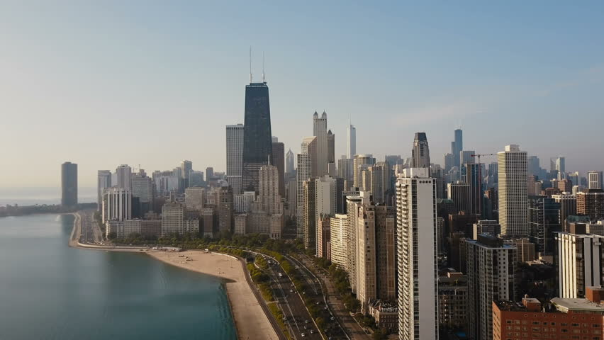Aerial view of the Chicago, America. Drone flying up to the downtown, skyscrapers on the shore of the Michigan lake. | Shutterstock HD Video #30798145