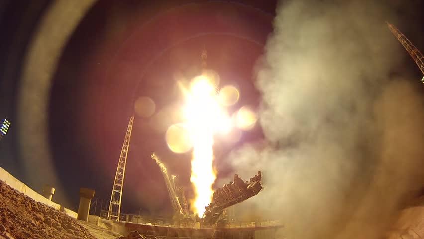 "Rocket ""Soyuz"" launch. Baikonur, Kazakhstan. Shot 2. #30813790"