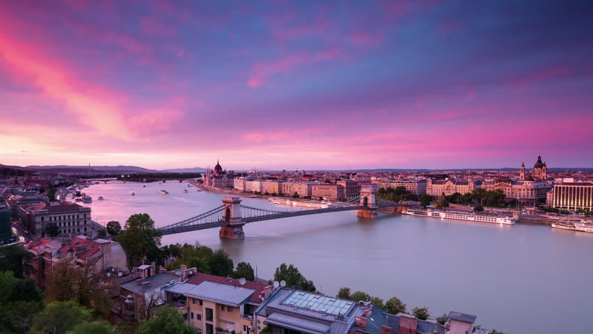 Budapest from above city skyline timelapse from day to night aerial view | Shutterstock HD Video #30816850