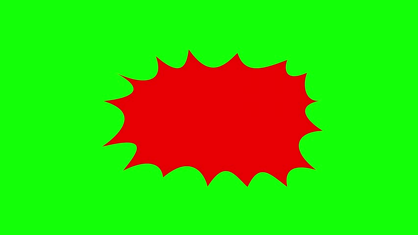 An empty comic strip speech bubble cartoon animation, fill in with the words of your choice. Red shape, green background.