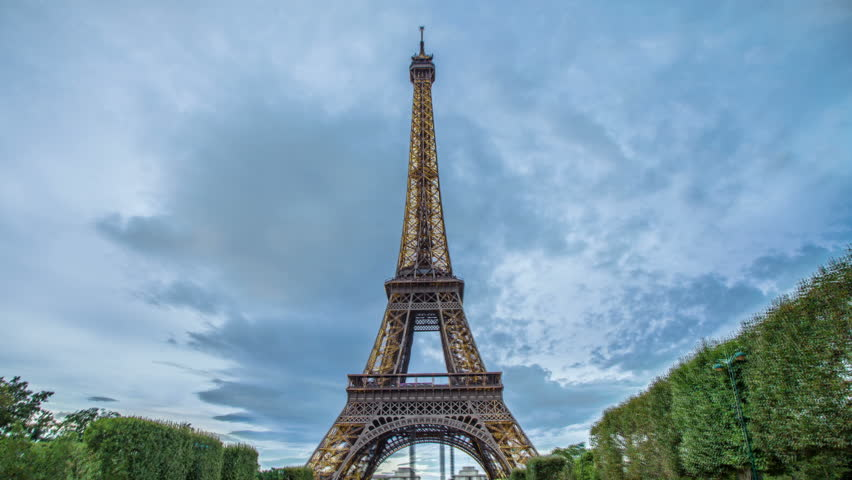 PARIS - CIRCA OCTOBER 2012: Time lapse of Eiffel Tower from day to night circa October 2012 in Paris, France. | Shutterstock HD Video #3082816