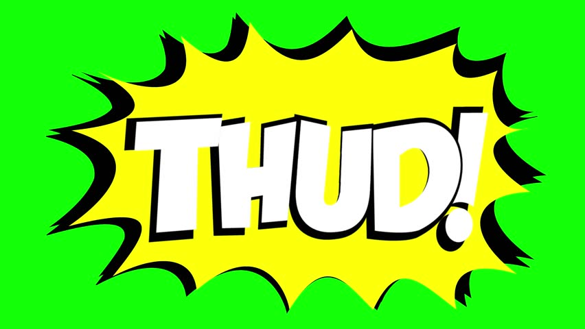 A comic strip speech bubble cartoon animation, with the words Thud Wham. White text, yellow shape, green background.