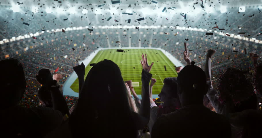 Fans cheering for sports team on the bleachers of a professional stadium | Shutterstock HD Video #30867058