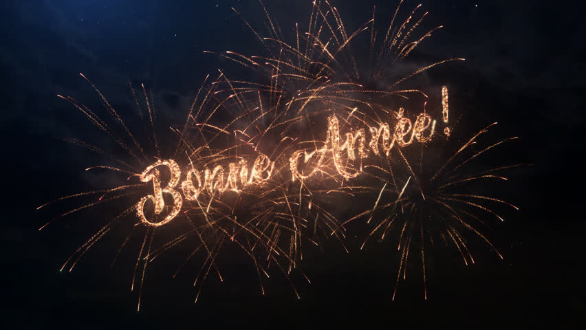 Happy New Year greeting text in French with particles and sparks on black night sky with colored slow motion fireworks on background, beautiful typography magic design. | Shutterstock HD Video #30877369