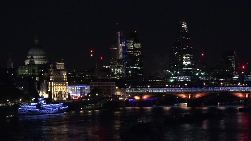 4K Amazing firework in London downtown, New York Eve party celebration, cityscape