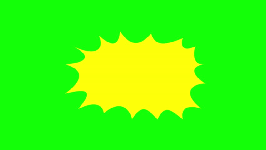 An empty comic strip speech bubble cartoon animation, fill in with the words of your choice. Yellow shape, green background.
