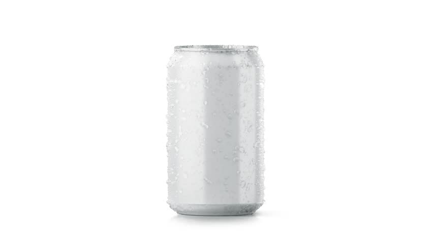 Blank cold aluminium beer can mockup with drops, 330 ml, looped rotation, 3d rendering. Empty soda tin packing mock up with condensate, isolated on white. Canned dripping drink. Cool fizzy pop package