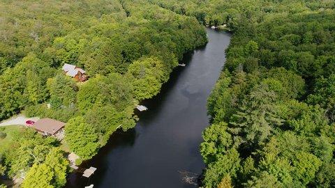 A high angle view of the Muskoka River