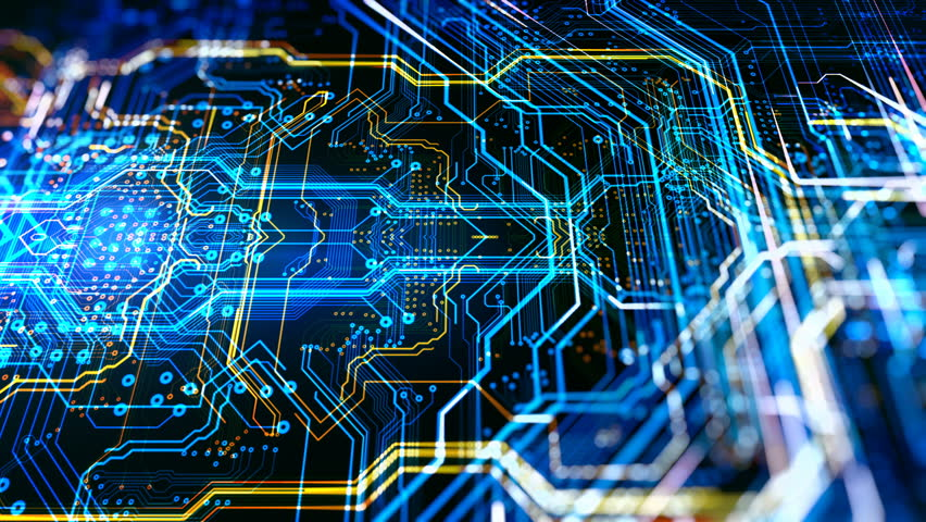 Abstract technological background made of different element printed circuit board and flares. Depth of field effect and bokeh/Printed circuit board in the server executes the code | Shutterstock HD Video #30915853