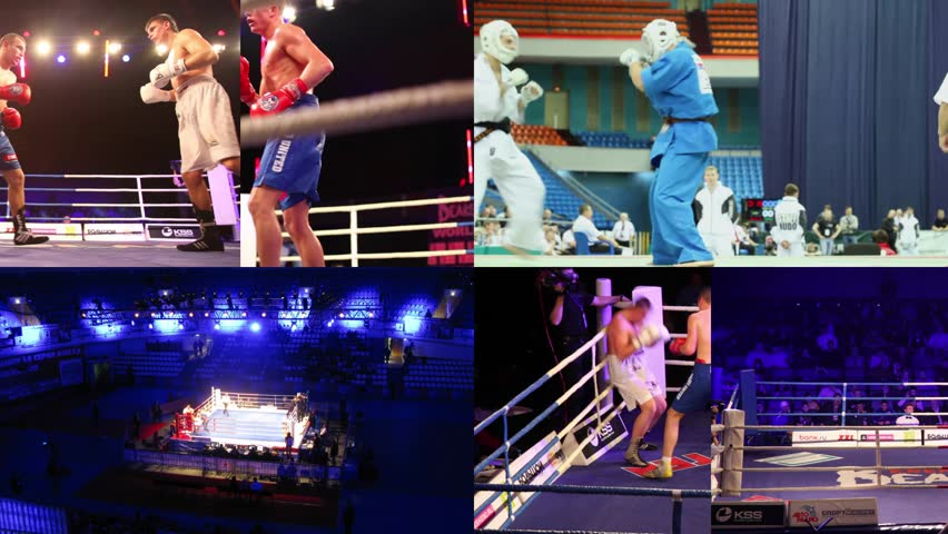 MOSCOW - MAY 2009 - JAN 2012: (collage) World Cup 2011 of KUDO, Box Battle of Moscow 3, WSB boxing match, Krylatskoye Sports Palace, Trainer and kids are doing exercise in style of Goju-ryu Karate-Do #30921250