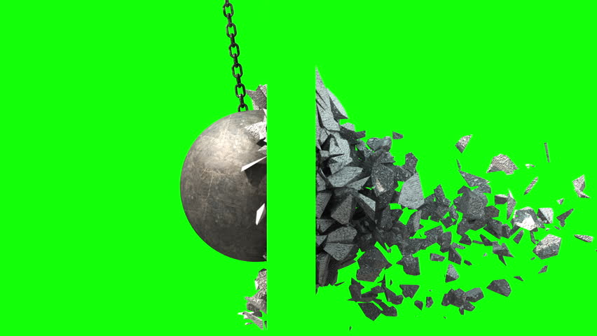 Metallic Wrecking Ball Shattering The Wall. Side View. Green Screen. 3D Animation.