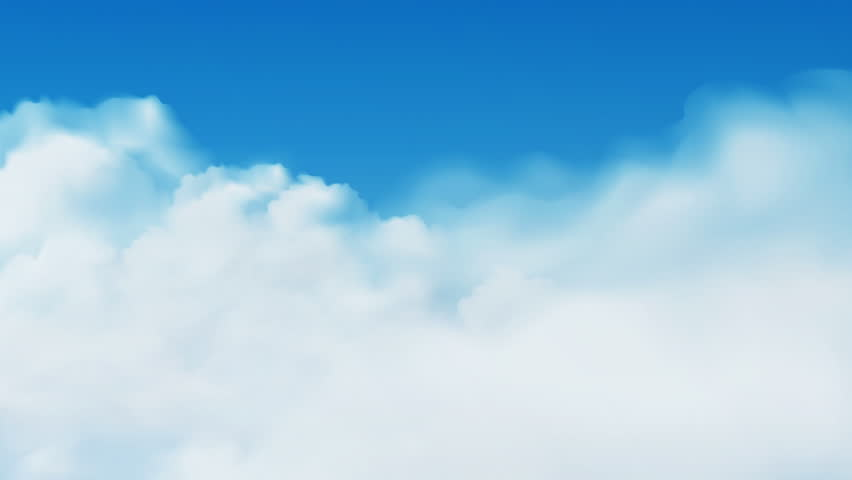 Air balloons flying over moving clouds on clear blue sky available in 4k UHD FullHD and HD 3d loopable video footage
