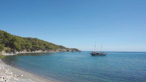 Natural Beach From Phaselis Antique City, Antalya, Turkey
